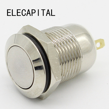 1pcs 12mm Waterproof Momentary Flat Round Stainless Steel Metal Push Button Switch Car Start Horn Speaker Bell Automatic Reset