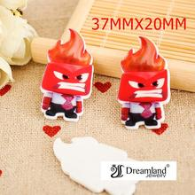 50pcs/lot 37MMX20MM NEW 3D Inside Out Cartoon Character Planar Resin for Hair Bows Resin Flatback DIY Holiday Decorations DF-303(China)
