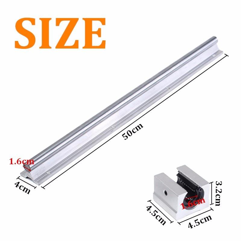Best Price 2 set SBR16-500mm 16MM Linear Slide Guide Rails Shaft +4 SBR16UU Bearing Block for DIY CNC Accessories<br>