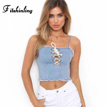 Fitshinling Lace up jeans camis women clothing 2018 summer crop top female sleeveless shirt vest fitness slim sexy camisole sale(China)