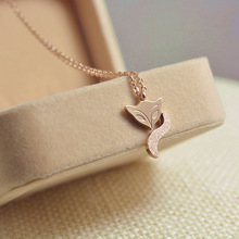 YUNRUO Gold Silver Plated Frosted Surface Fairy Fox Necklace Titanium Steel Jewelry Woman Birthday Gift Free Shipping Never Fade