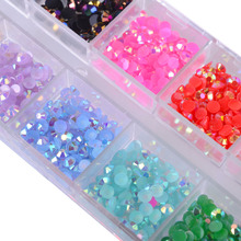 12 Color/Box 3mm Crystal Colorful Jelly Rhinestones 3D Nail Art Decor Glitter Gems Stones Manicure DIY Set Flatback Beads CH128(China)