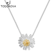 Todorova 925 Sterling Silver Daisy Flower Pendant Promise Elegant Necklace Women's Jewelry Wedding Engagement Birthday Gift(China)