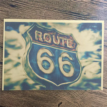 "New arrival DC-062 vintage poster ""Famous American road"" home decorative pictures for bedroom wall art craft sticker 42x30 cm(China)"