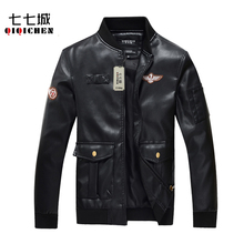 Buy Air Force One Fashion Motorcycle PU Leather Jacket Men Slim Fit Short Style Jackets Black Mandarin Collar Leather Coat for $43.38 in AliExpress store