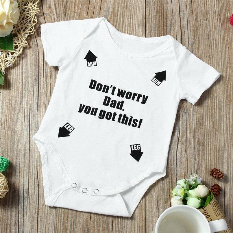 Summer Babys Romper Jumpsuit Toddler Infant Baby Girl Boy Short Sleeve Letter Romper Jumpsuit Baby Boy Girl Clothes M8Y18 (2)