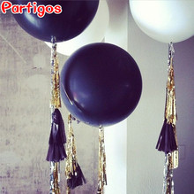 36inch Black White Latex Balloon+10pcs Tissue Paper Foil Tassel baby shower wedding birthday party decor supplies Event Gifts