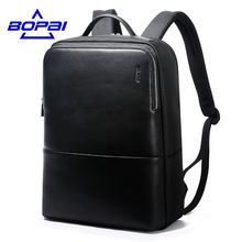 2017 BOPAI Cool Mens Backpacks Man Rucksack 14 Inch Laptop Bag Student Schoolbags Men Travel Leather Backpack Bags Black bagpack(China)