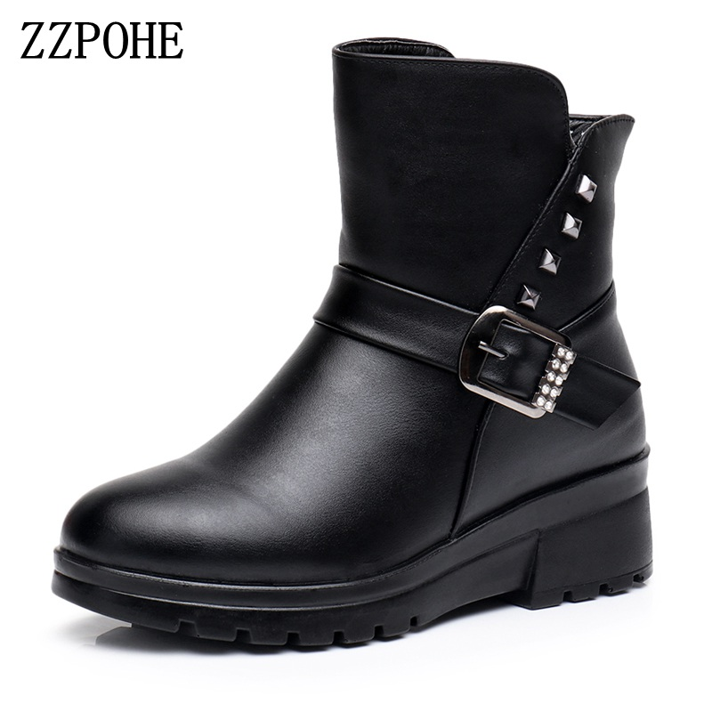 ZZPOHE 2017 fashion genuine leather women boots womens soft plush warm ankle boots mother Plus Size boots female winter shoes<br>