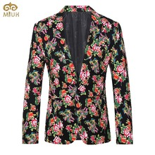 Large Size Floral National Style Blazer Masculino Slim Fit 4XL 3XL Brand Clothing Costume Homme 2Color Black Red Blazer Men 2017
