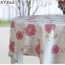XYZLS PVC Korean tablecloth pastoral pink flower non wash waterproof oil proof table cloth coffee tablecloths plastic pad