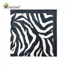 HAKOONA 3 Bags 60 Pieces 3 Layer  Paper Fabric Napkin Black  White Zebra Pattern Facial Tissue Bar Dessert Party  Mats