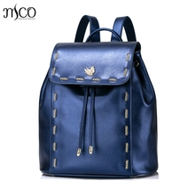 Women PU Leather Backpack Chain Female Elegant Daily Shoulder Bags Ladies Daypack Girls Drawstring Schoolbag Travel Rucksack