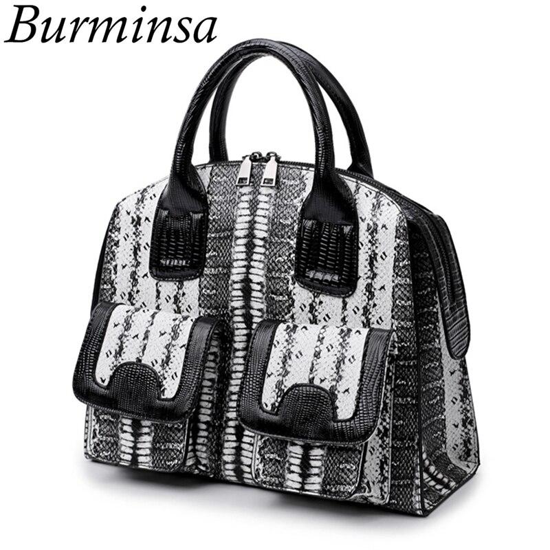 Burminsa Brand Shell Snakeskin Tote Bags Vintage Office Ladies Designer Handbags High Quality PU Leather Shoulder Bags For Women<br>