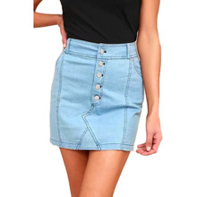Buy Sexy Button Pencil Skirt Summer Fashion High Waist Denim Skirts Women Mini Skirts 2018 Bodycon Skirt Light Blue for $13.99 in AliExpress store