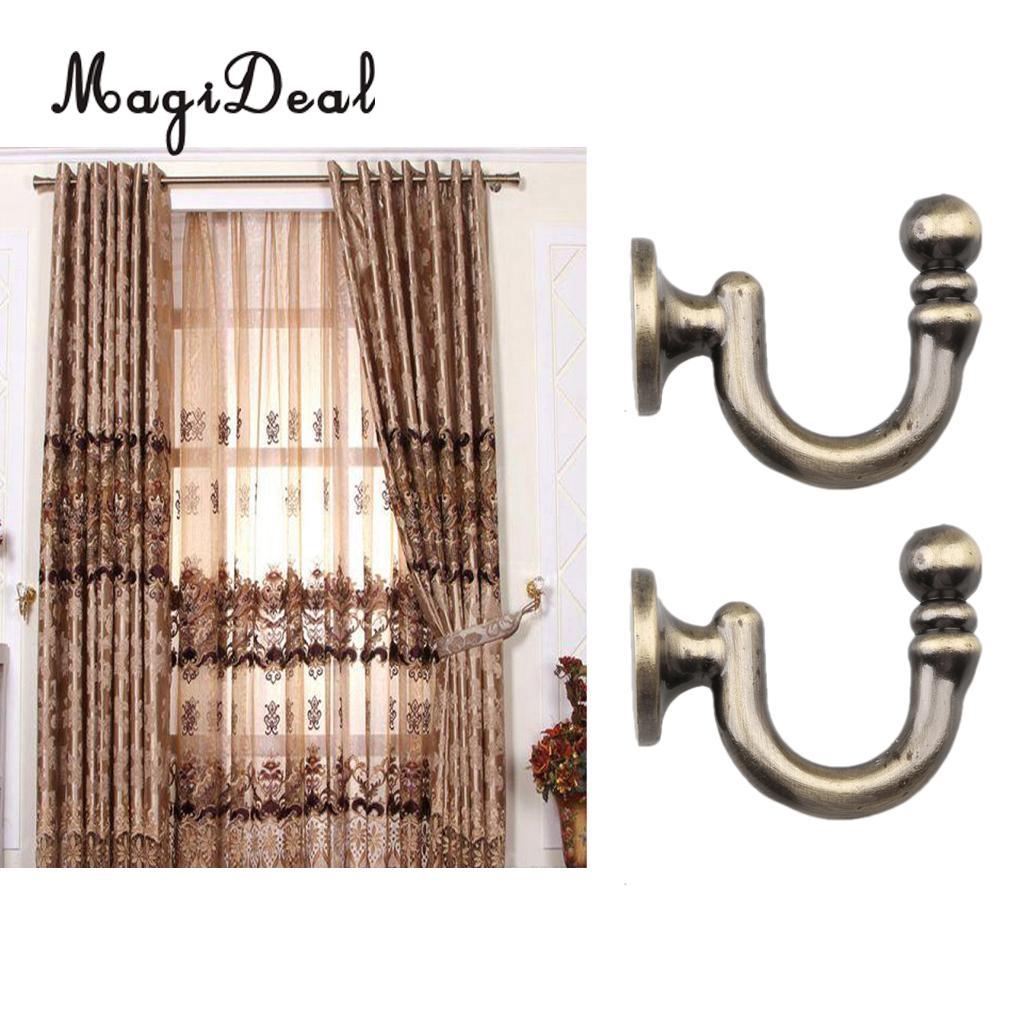2x Metal Curtain Holdback Wall Tie Back Hooks Hanger Holder Window Curtain Hooks