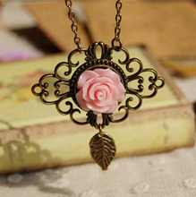 Rose Flower PINK GREEN YELLOW Little Bronze Leaf Pendant Necklace for Women Vintage Style Long Necklaces Victorian Jewelry XL065(China)