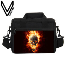 VEEVANV Brand 2017 New Fire Skull 3D PU Prints Food Bags Men Fire Skull Image Lunch Box Small Lunch Picnic Cooler Bags for Women