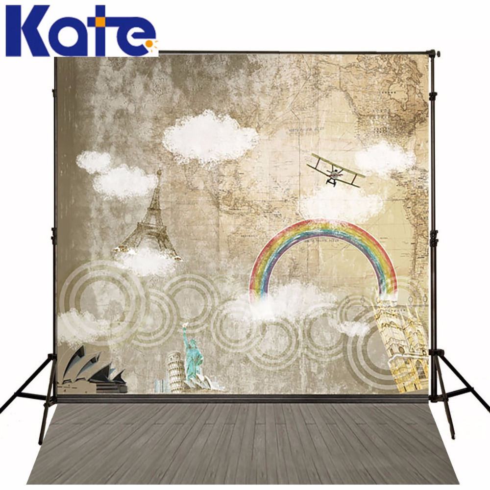 KATE 150x200CM Gray Brick Photography Backdrops Rainbow Tower Aircraft Backgrounds For Photo Studio Newborn Photo Background<br>