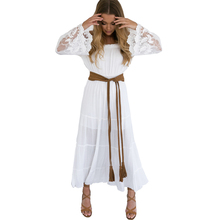 Buy Sexy Shoulder Flare Lace White Long Dress 2016 New Slash Neck Cotton Casual Beach Boho Dress for $16.34 in AliExpress store