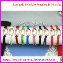 20pcs/lot free ship Wholesale rose gold color hello kitty bracelet, mixed 10 color pu leather cord bracelet with kitty charms