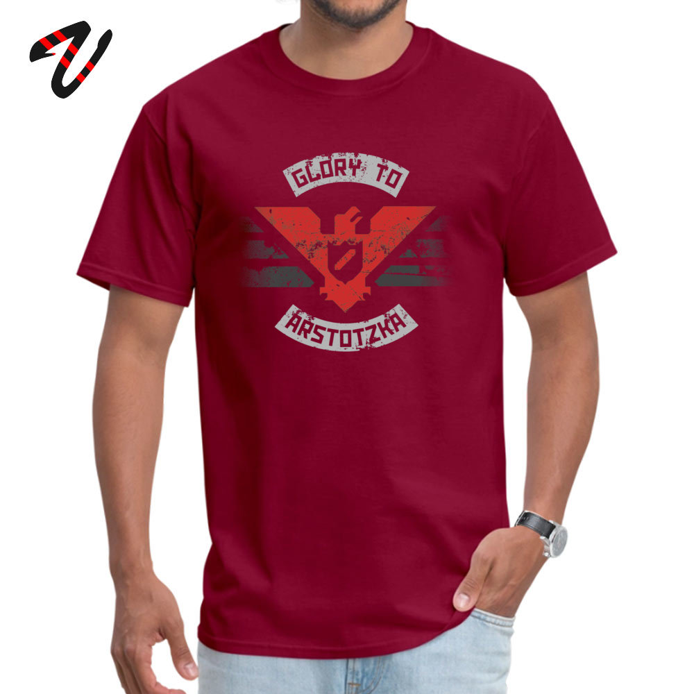 100% Cotton Mens Short Sleeve Glory to Arstotzka Top T-shirts Summer Tops & Tees Special Cool O Neck T Shirt Drop Shipping Glory to Arstotzka -14134 maroon