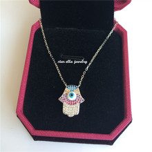Starella Turkey Style 925 Sterling Silver Micro Pave Colored Cubic Zirconia Nano Turquoesa Evil Eye Fatima Hamsa Necklace