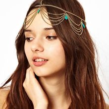 Bohemia Fashion Hair Chain HairBand Turquoise Tassel Multilayer  Ribbon  Wedding Headband Hair Accessories Jewelry For Women