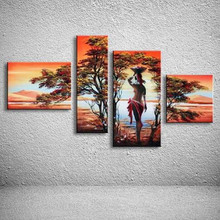 Handpainted Abstract Landscape Oil Painting Handmade African Nude Woman Trees Paintings Modern Wall Canvas Art 4 Panel Pictures(China)