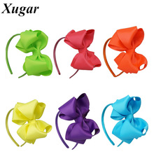 2 Pcs/Lot High Quality Handmade Solid Ribbon Neon Color Bow Hairband For Girls Boutique Headband Hair Accessories