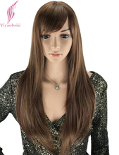 Yiyaobess 24inch Synthetic Highlights Bright Brown Long Straight Wig With Bangs African American Wigs For White Women
