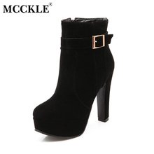 MCCKLE Woman High Heels Ankle Boots Female Zip Platform Sexy Part Dress Pump Women Fashion Buckle Suede Motorcycle Boots
