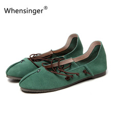 Whensinger - 2017 Woman Flats Female Shoes Loafers Cute Casual Ballet Dance Solid Elastic Band Retro Fashion LA9(China)