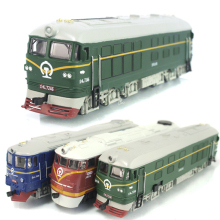 Dongfeng locomotive simulation model of acousto-optic alloy warrior green train model classic children's toy car