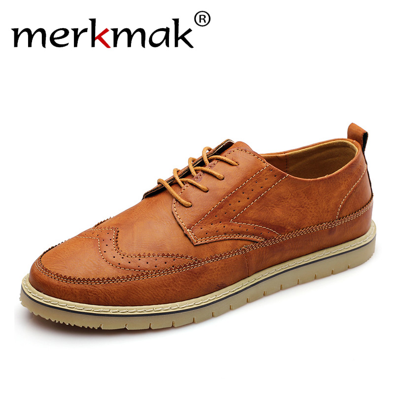 Retro Men Leather Shoes Casual Brogue Men's Flats Genuine Leather Shoes Men Luxury Brand Big Size Oxfords Man Footwear
