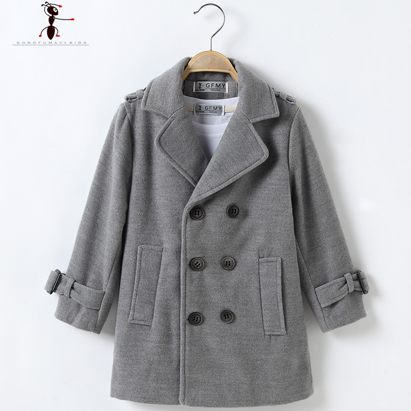 Double Breasted Solid Turn-down Collar Full Sleeve Worsted Woolen Boys Black Brown Gray Cool Long Coat for Winter  2524<br>