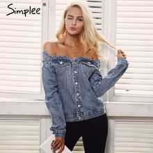 Simplee Sexy off shoulder denim jacket coat Women autumn casual slash neck jeans outerwear coat Female winter basic jackets(China)