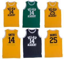 Retro Basketball Jersey Will Smith the Fresh Prince Basketball Shirts 14# 25# Yellow Black Green Hip Hop Cheap Throwback Jersey