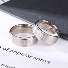 Shellhard Classic Wedding Engagement Ring Charm  DAD MOM Letters Engraved Stainless Steel Rings For Mens Womens Jewelry