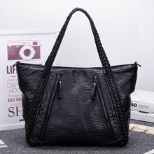 Korean New Women's Crocodile Leather Handbag Shoulder Bag With Large Casual Tote Pu Leather Bags Zipper Top-handle Handbags Soft(China)