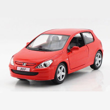 KINSMART Diecast Metal + ABS Peugeot 307 Cars Toys For Children, Simulation Doors Openable Pull Back Toy Car Model / Brinquedos(China)