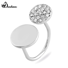 Duohan Designer Collection Minimalism Jewelry Ring for Men And Women Resizeable Copper Novelty Female Accessory With Rhinestone(China)