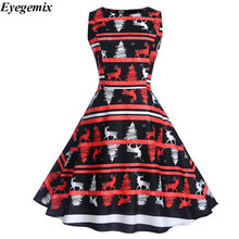 Summer Desses Retro 50s 60s Rockabilly Robe 2018 Women Casual Christmas  Deer Printed Floral Midi Dress O-neck Sexy Party Dresses ab587f30b31a