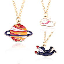 Creative New Jewelry Fashion Color Drip Ornaments Satellite Space Crew Moon Girl Personality Pendant Necklace(China)