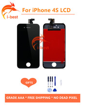 1psc LCD Touch Screen AAA & Non Spot Display Digitizer Replacement Assembly For iPhone 4s LCD free shipping