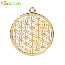 "8SEASONS Zinc Based Alloy Flower Of Life Pendants Round Gold Color Dull Silver Color Hollow 44mm(1 6/8"") x 40mm(1 5/8""), 3 PCs(China)"