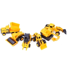6Pcs/Set Car Diecast Mini Alloy Construction Vehicle Engineering Car Dump-car Dump Truck Artificial Model Classic Toy Kids Gifts