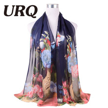 2016 New Design Flowers Chiffon Scarf for Women Polyester Silk Scarf Scarves Shawl P5A16564(China)
