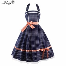 Polka Dot Pattern Halter Backless Women Vintage Dress ribbon Bow Contrast Color A-Line Midi Prom Party Rockabilly Swing Dresses