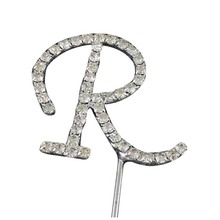 Practical Silver Alphabet Letter Rhinestone Crystal Monogram Wedding Cake Topper Decoration R